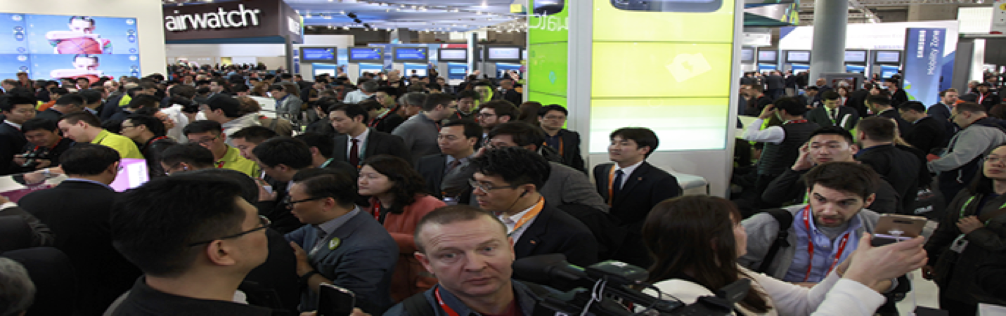 (ABOVE) The crowded and bustling show floor at Mobile World Congress 2016 in Barcelona is teeming with opportunity