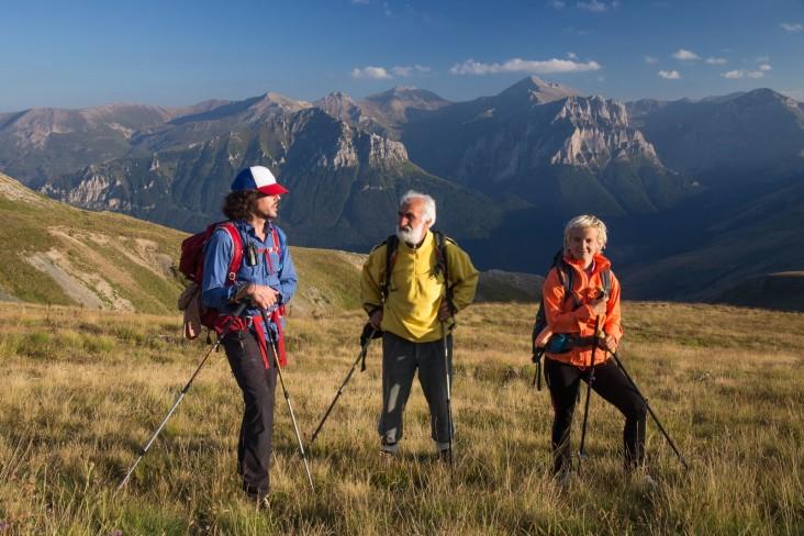 Via Dinarica hikers trek in Macedonia along the Šar Mountains. The range forms the border between Macedonia and Kosovo. Left to right, Alex Crevar, Miroslav Donev (Aleksandar's father) and Uta Ibrahimi - Aleksandar Donev