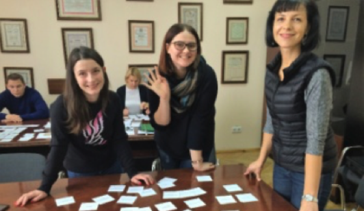 ABOVE:Card Sorting Game – special training for NBU Press Office how to group information for users