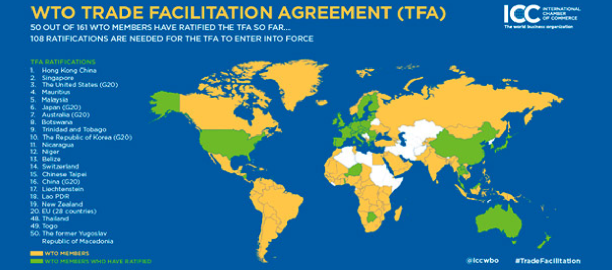 ABOVE:A map of WTO Trade Facilitation Agreement of ratification globally