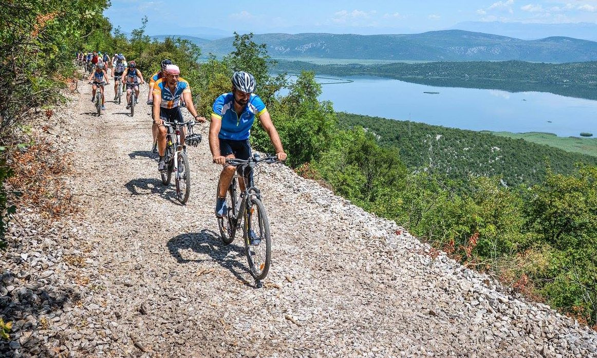 Balkan bliss … cycling the Ciro Trail in the Neretva valley. Photograph: Goran Prskalo
