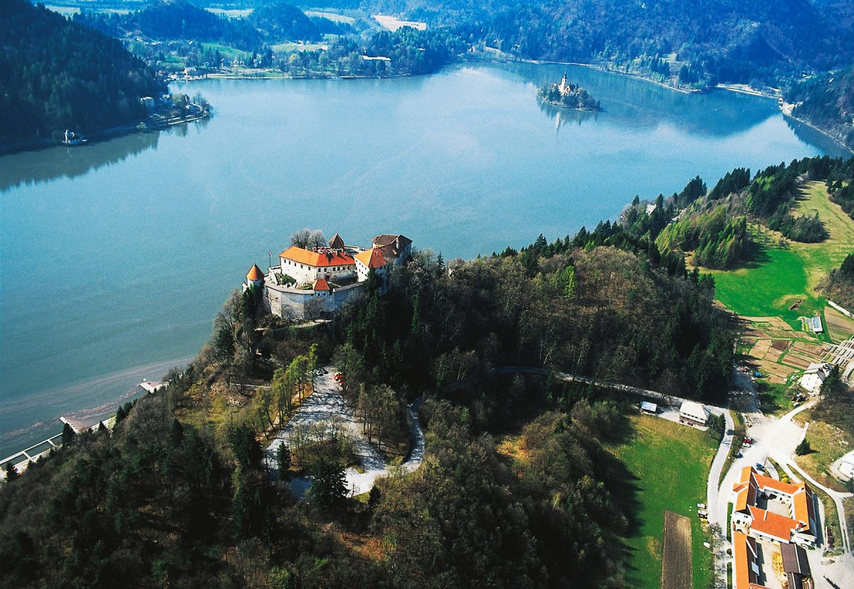 A highlight of Day 2 on the MTS trek, here's an aerial view of Bled Castle, overlooking the lake of the same name in Triglav National Park, Slovenia. (DeAgostini/Getty Images)