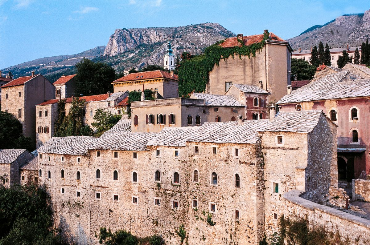You'll find yourself in the old city of Mostar, a UNESCO World Heritage Site in Bosnia and Herzegovina on Day 7 of the trek (DeAgostini/Getty Images)