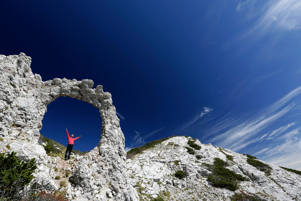 Hajducka Vrata (a.k.a. the 'Rebel's Door'), about 6,500 feet up Mount Cvrsnica in Bosnia and Herzegovina. You'll get there on Day 9. (Courtesy of Mountain Travel Sobek/Elma Okic)