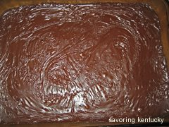 The icing on the Western Kentucky Chocolate Sheet Cake