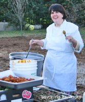 Ouita Michel, Holly Hill Inn owner, cooking outdoors