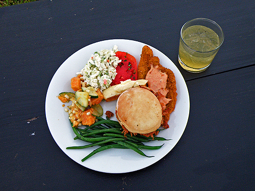 A plate of the wedding food at Shakertown for Lynn Peemoeller and Eric Ellingsen's wedding