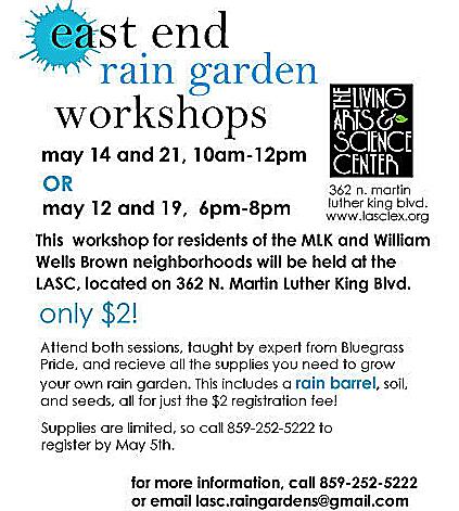 Flyer about East End rain garden workshops