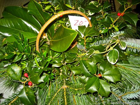 Locally grown greens make fresh, beautiful, affordable wreath at Lexington Farmers Market, Kentucky