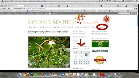 Screenshot of Savoring Kentucky's calendar access points