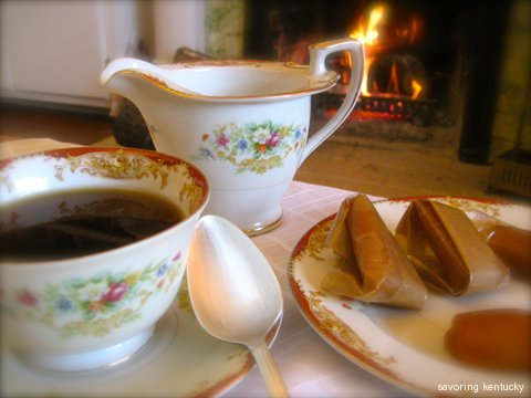 Tea, Sorghum Caramels, and Peace by the Campsie fireplace