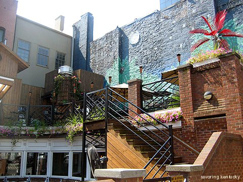 Multi-level patio and exterior deck at Cheapside Bar & Grill, downtown Lexington, Kentucky