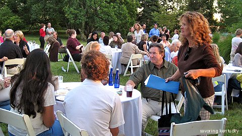 Outdoor harvest meal, Slow Food Bluegrass at Waldeck Farm, Crestwood, Kentucky, 2007