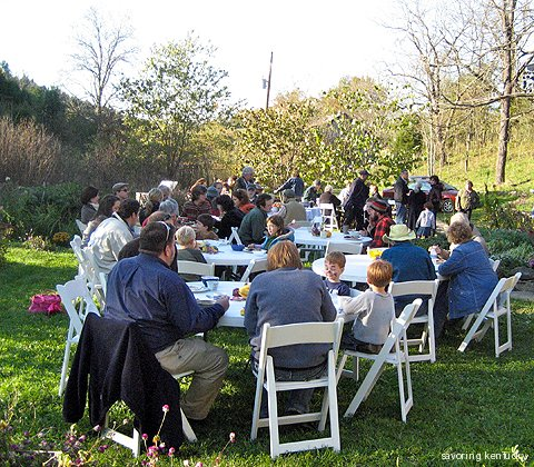 Outdoor eating at Three Springs Farm, Kentucky, 2009