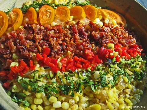 Pan-Roasted fresh Kentucky Corn with Bacon, Jalapeño, Tomato, Herb toppings