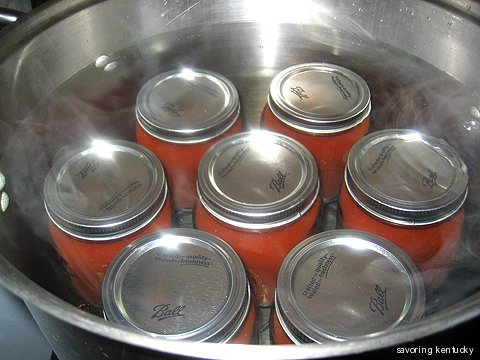 Ketchup jars in the hot water bath