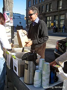 Mark Newberry of Caffe Marco sells coffee at the Lexington Famers Market
