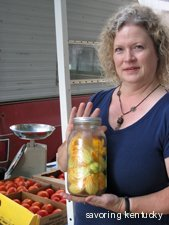 Sharon Stratton of Hoot Owl Holler Farm with squash blossoms
