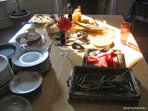 A Cornbread Supper still life with evening sun
