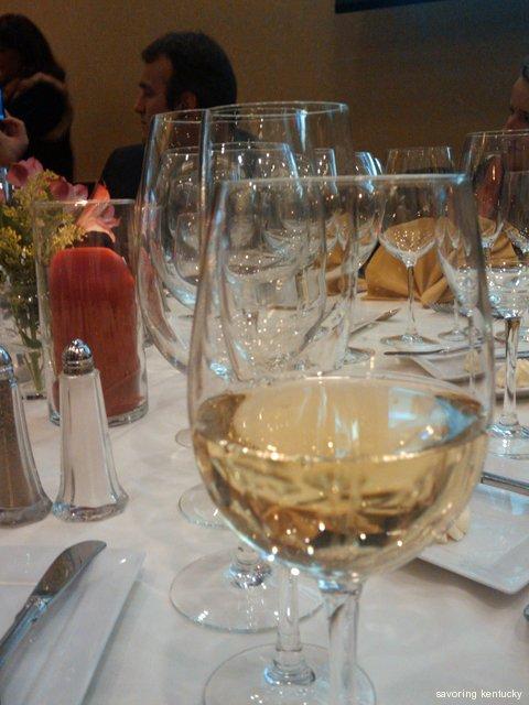Promising, lovely table settings for Kentucky Proud Grapevine Winemaker Dinner 2010