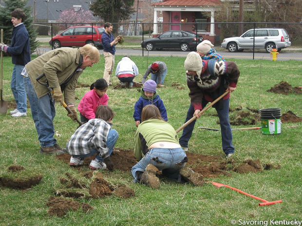 A few of the many volunteer orchard builders in 2009