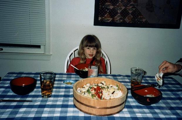 Karen's daughter, now 22, enjoying homemade chirashi sushi