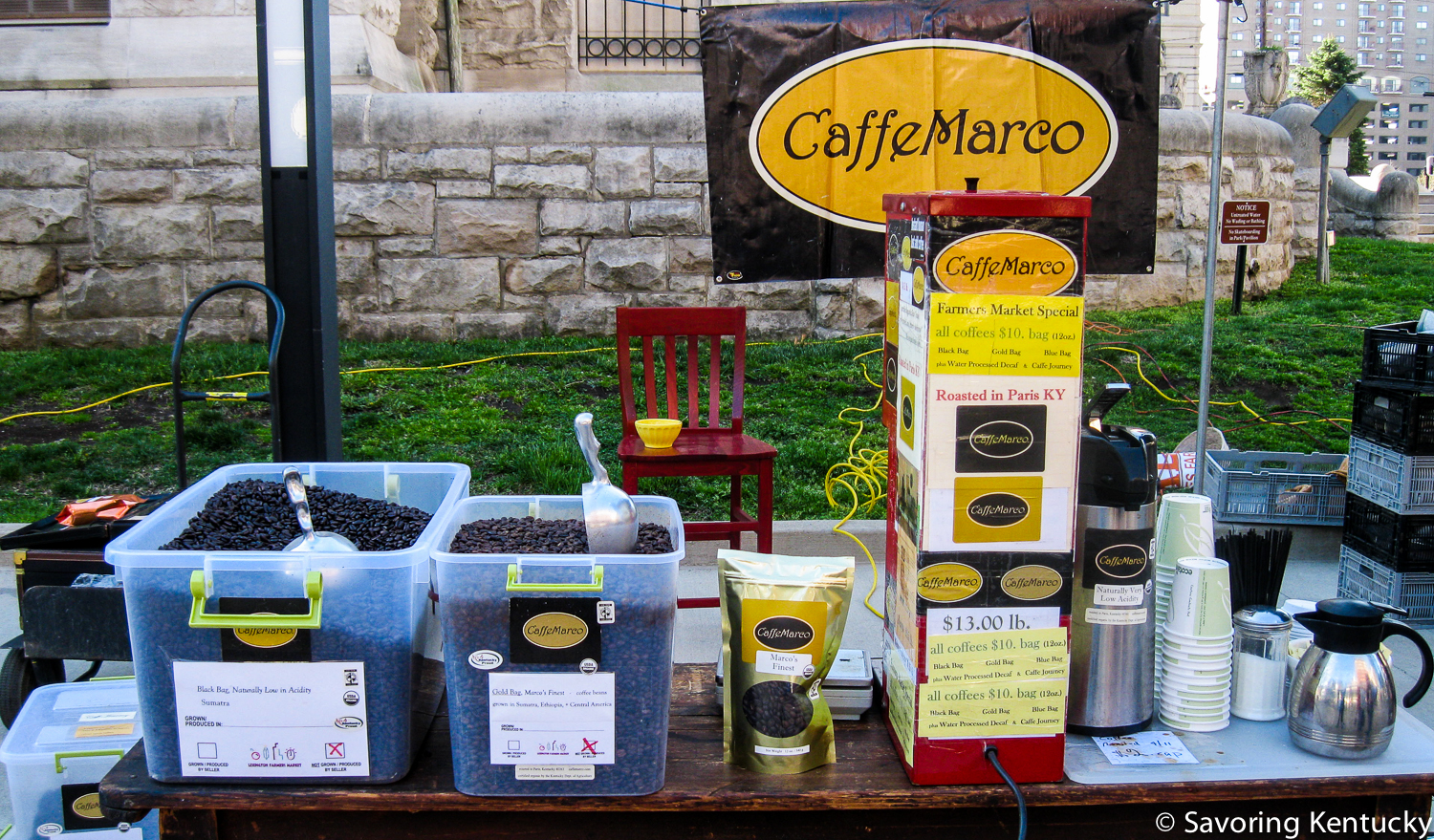 Market veteran Caffe Marco offered its characteristic array of fine, seasonal, Fair Trade, certified organic, high altitude, family farm-based, much loved coffees.