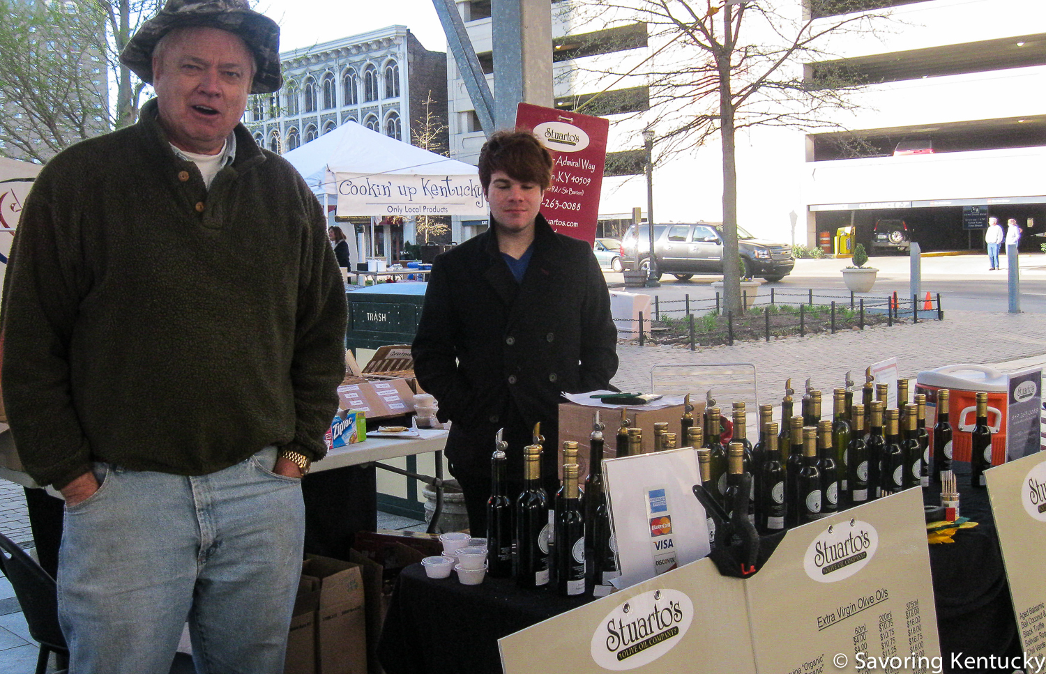 How about some  Stuarto's  olive oil with that pasta? Stuarto's, also famous for luscious vinegars, joins the Market for the first time this year.