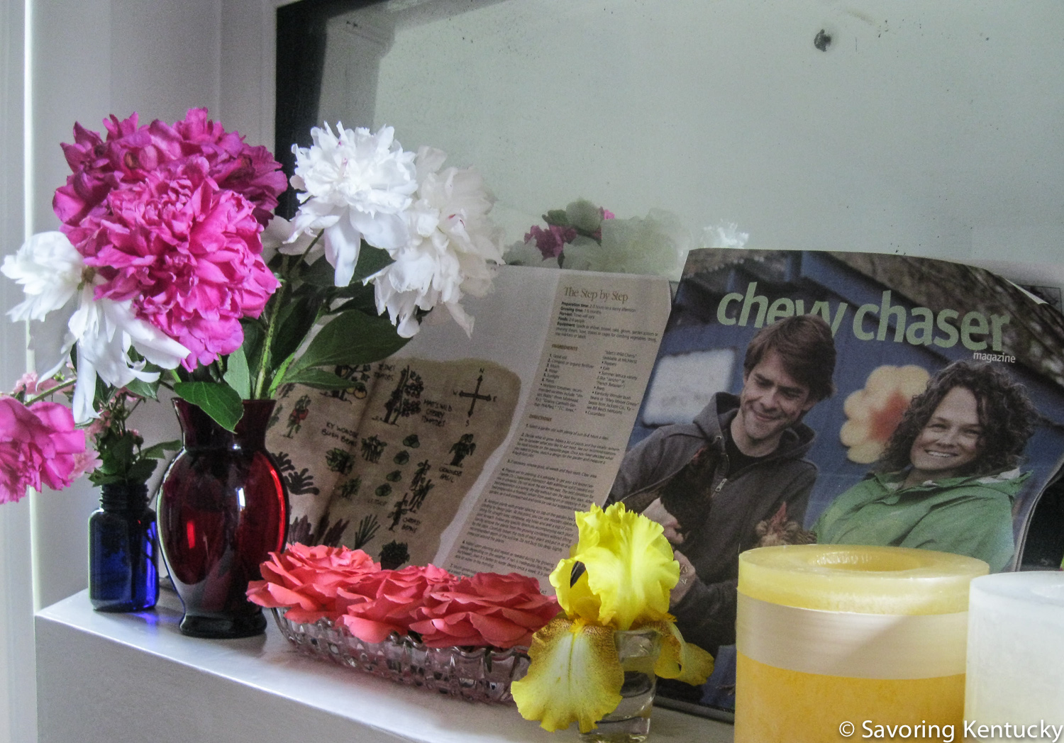 Flowers and candles at the ready, making an impromptu shrine to some of our beloved friends and constant inspirations.