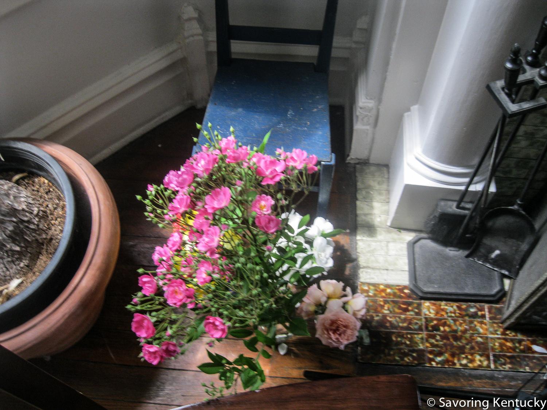 My grandmother Rona's rose, a polyanthus type, cut long as Teresa Biagi of Hazelfield Farm advises. Sidekicks of Abraham Darby rose and fragrant mock orange.