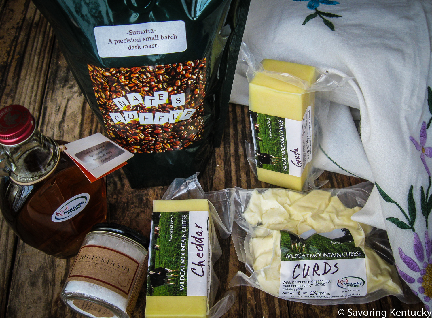 Country Rock maple syrup,  Nate's Coffee  (Sumatra),  Wildcat Mountain cheeses  from East Bernstadt, Kentucky, and  J. Q. Dickinson salt  from Malden, West Virginia