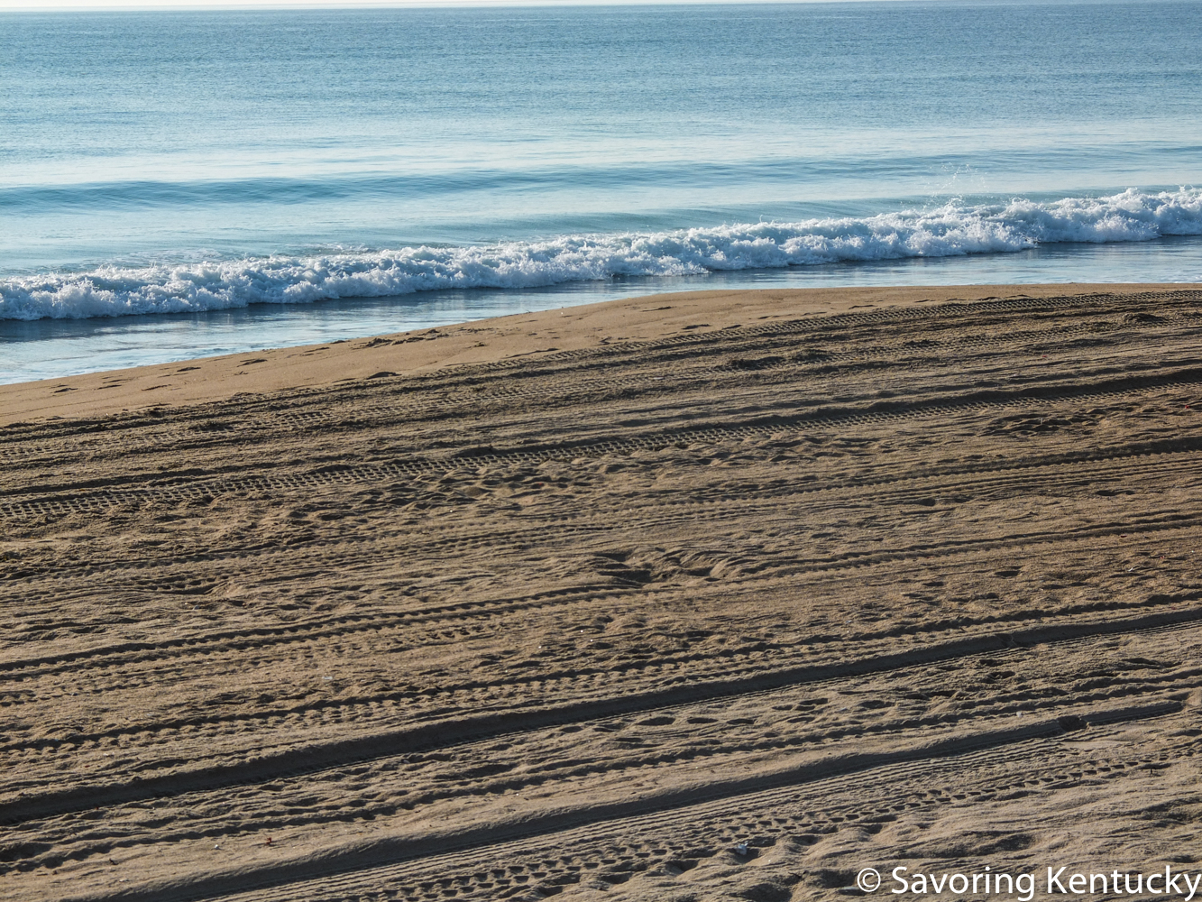 The Atlantic coast of the United States, at Salisbury Beach, Massachusetts. See below for ocean in motion.