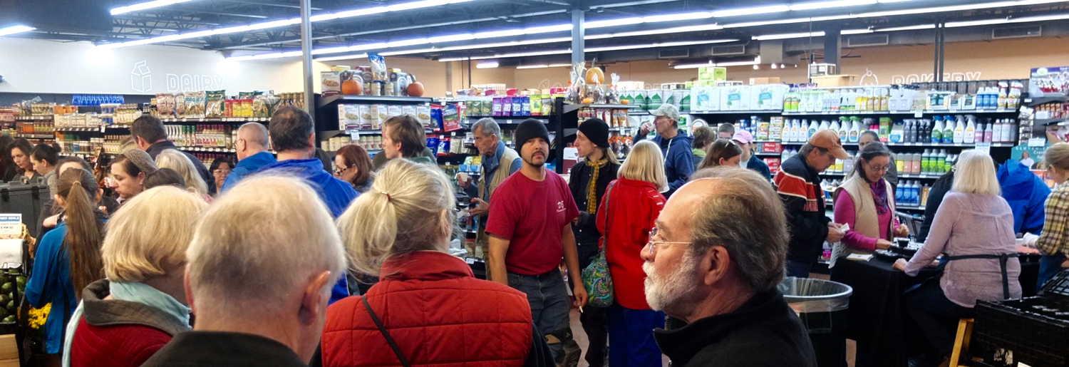Click for tiny video of Good Foods Coop 2015 holiday sampling.