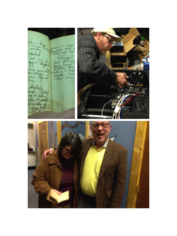 Clockwise from top right: hand-written recipes from Gregory Pettit's collection of family cookbooks, now donated to Holly Hill Inn; WLXL manager Hap Houlihan building more stations capacity; Ouita Michel (left) and Gregory Pettit before the show.