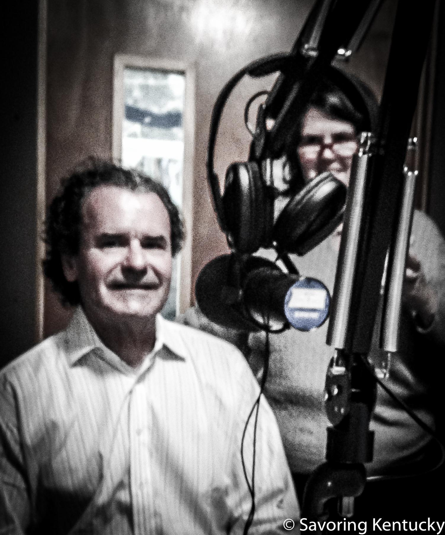 Mark Newberry, left, and Ouita Michel at Lexington Community Radio's studio, March, 2016