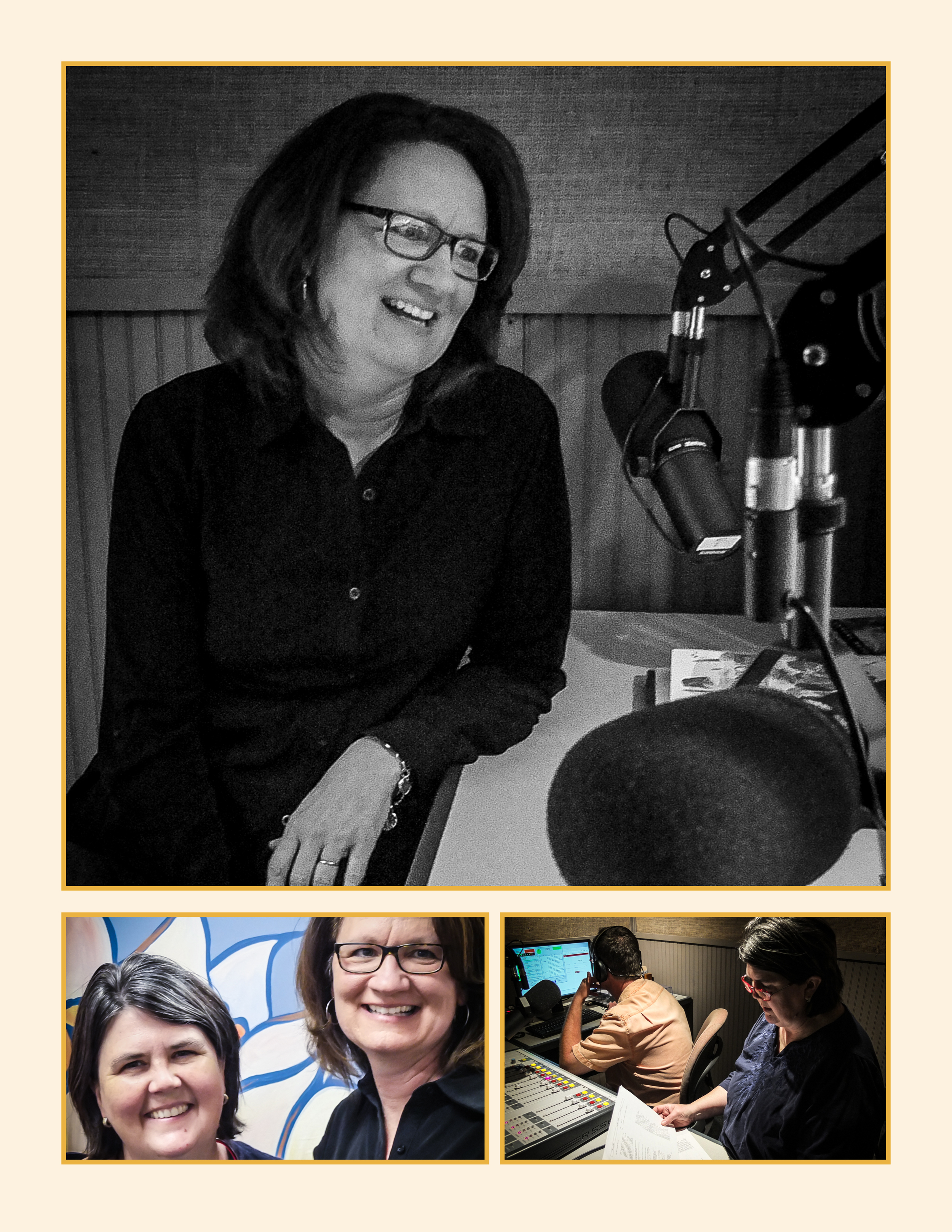 Top: Maggie Green in the WLXL studio. Bottom left, Ouita Michel and Maggie Green before the show. Bottom right, Chris and Ouita Michel prepare, with three minutes until showtime.
