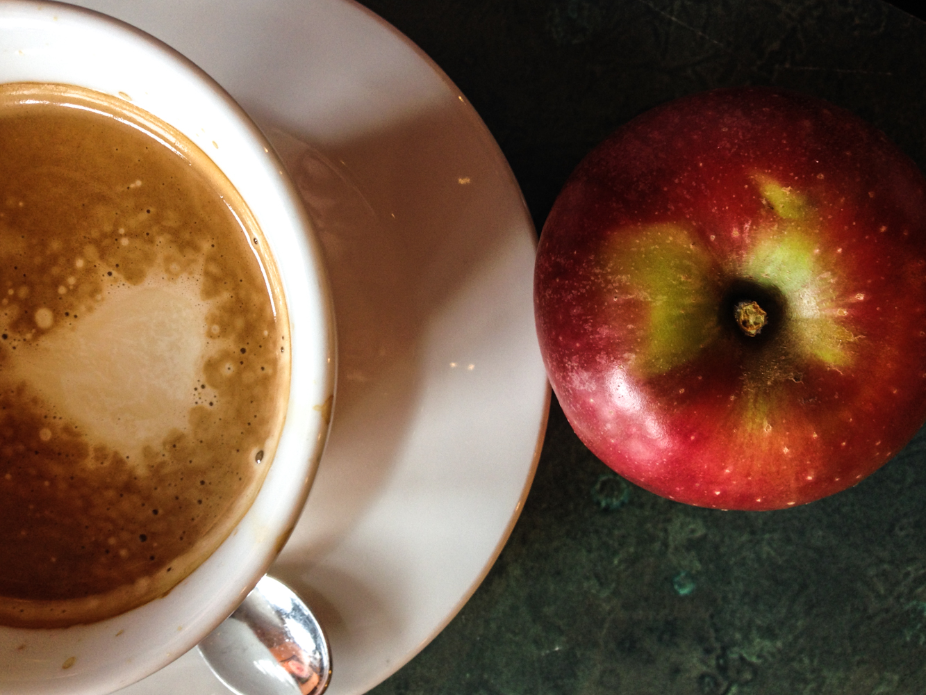 Sunrise Bakery Americano (two shots of espresso plus hot water and a bit of cream) and Reed Valley Orchard Stayman Winesap apple