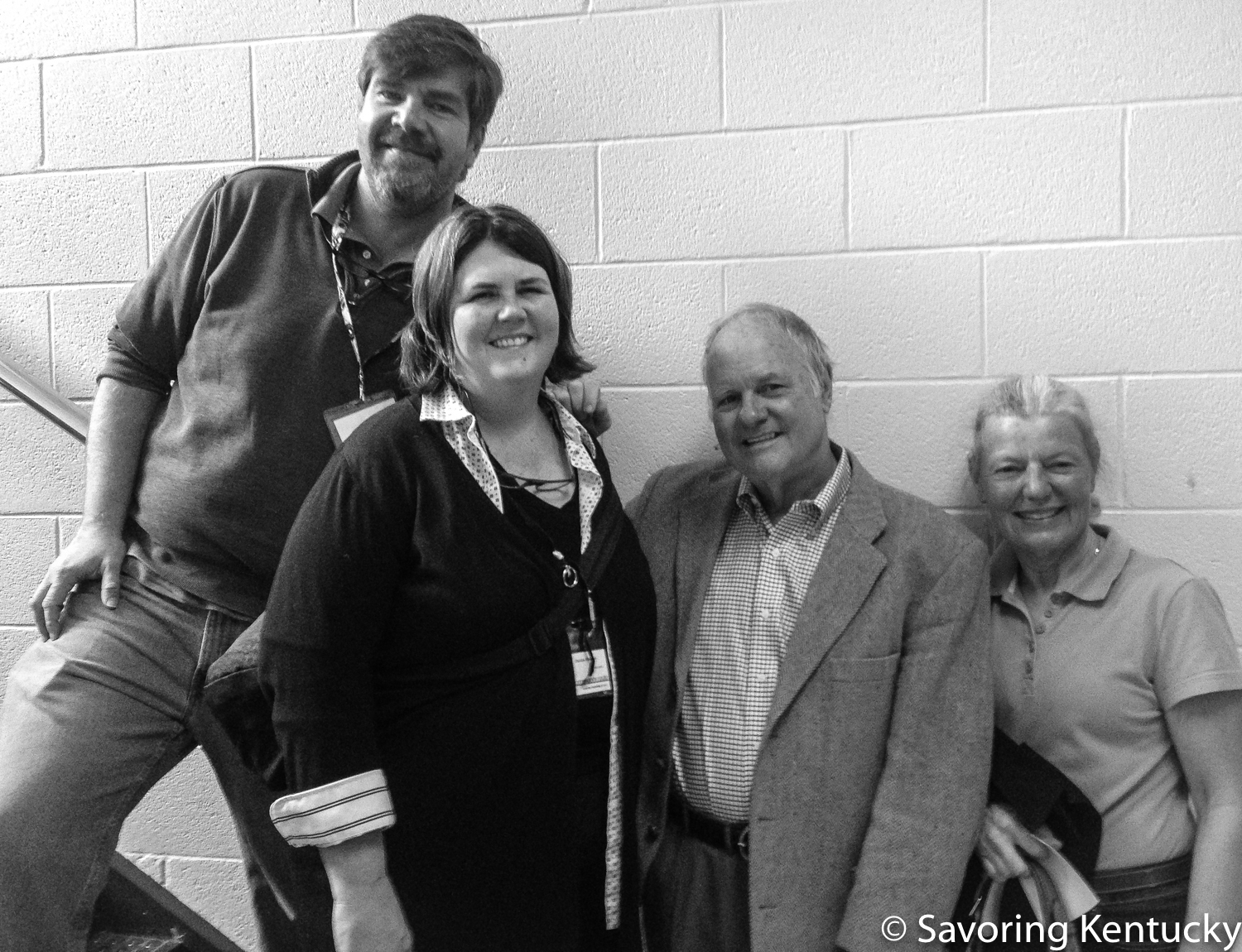 """For  our latest show , Cathy and Harkey Edwards of  Harkness Edwards Vineyards  described the trials and triumphs of learning to grow great wine grapes in Kentucky and then """"not mess them up"""" when making great wine. From left, Chris Michel, Ouita Michel, Harkey Edwards, Cathy Edwards."""