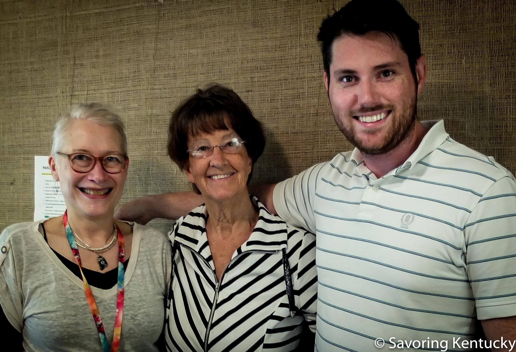 From left: Hot Water Cornbread host Rona Roberts, Former Mayor and Lexington Farmers Market founder Pam Miller, Lexington Farmers Market manager Josh England