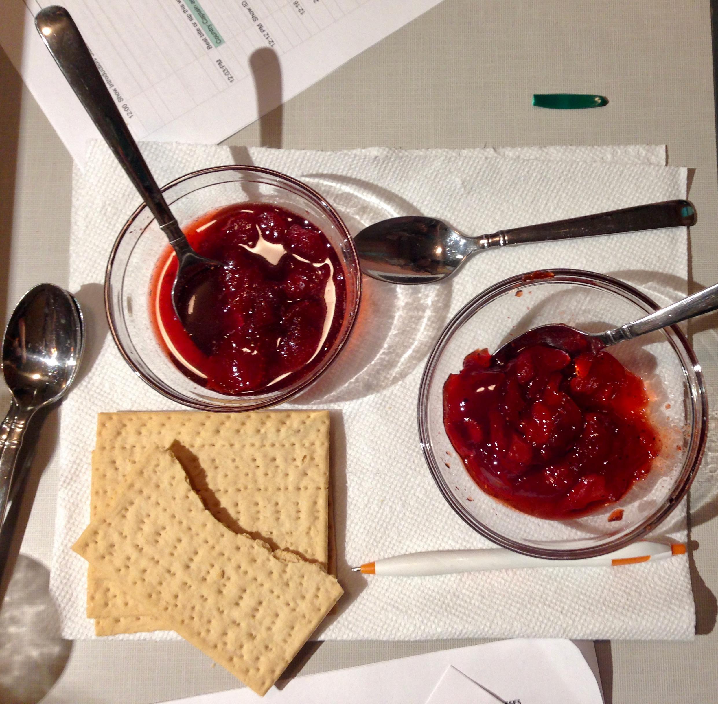 Tasting traditional Strawberry Preserves and Strawberry Balsamic Black Pepper Jam in the studios at WLXU-LP FM, 93.9,  Lexington Community Radio .