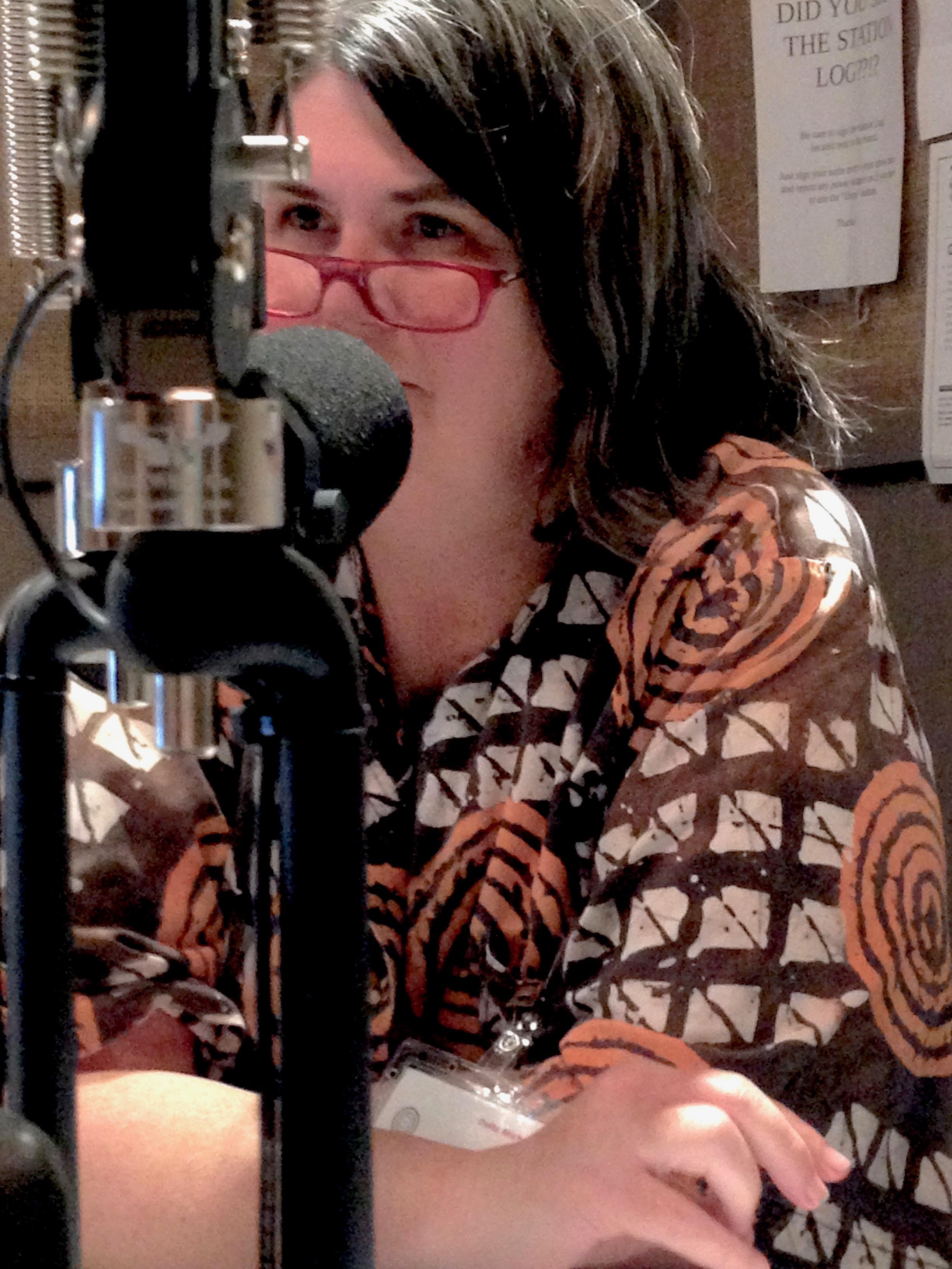 Chef Ouita Michel in the WLXU studios at  Lexington Community Radio .