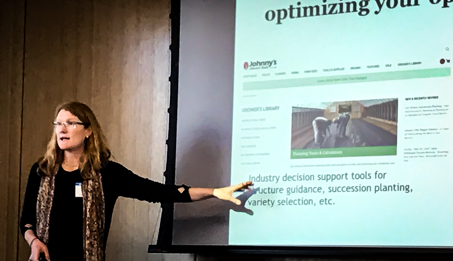 Dr. Krista Jacobsen, agroecologist, presenting on Extending the Season, Expanding Markets at the 2019 Kentucky Local Food System Summit