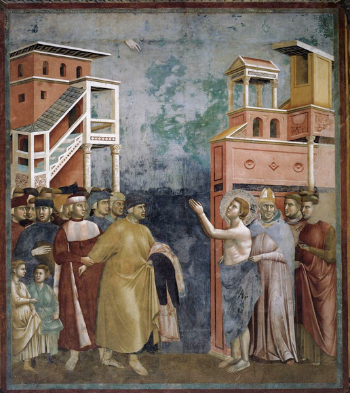 Giotto di Bondone, Saint Francis Renouncing Worldly Goods, 1297-1299