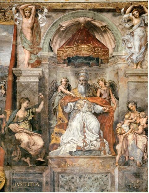 Raphael,  Pope Urban I between Iustitia and Caritas , 1520-24