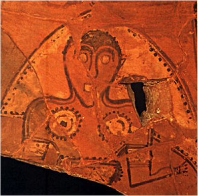 Ceramic decoration representing a woman wearing a veil, identified as a Celtiberian Goddess. Museo Numantino, Soria