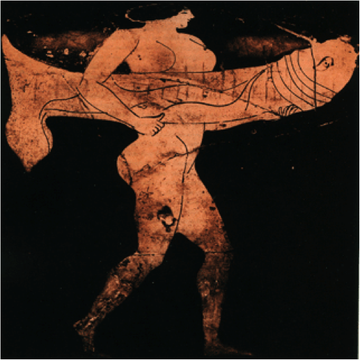 Woman carrying a phallus painted on ancient Greek vessel c. 480 - 450 BC