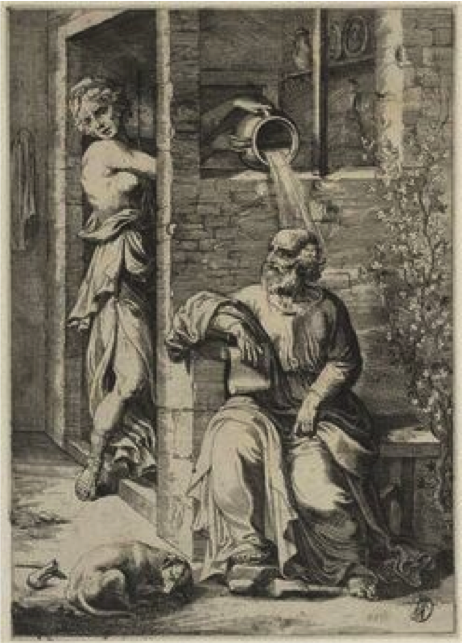 Anonymous,  Xantippe and Socrates , ca 1600-1630