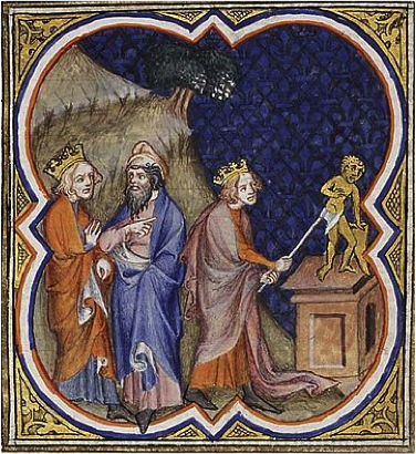 Asa, king of Judah, destroying the idols, Bible Historiale, 1372