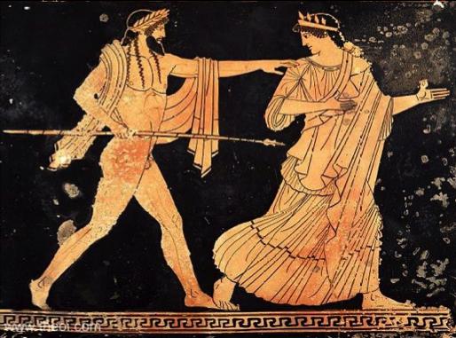 Attic red figure of  Zeus and Aigina , ca 450 BC