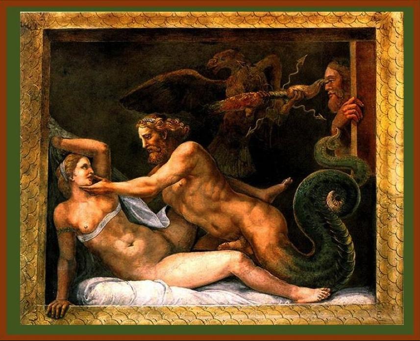 Giulio Romano,  Jupiter seduces Olympias , 1526-1534